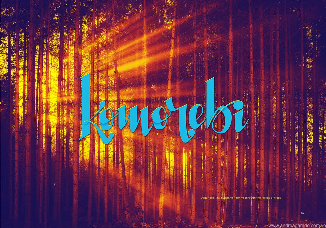 Komorebi lettering, from the japanese word. Sunlight filtering through the leaves of the trees. Beautiful words serie