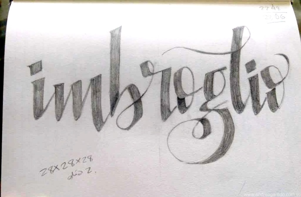 Imbroglio lettering, from the italian word. Something complicated. For the beautiful words serie