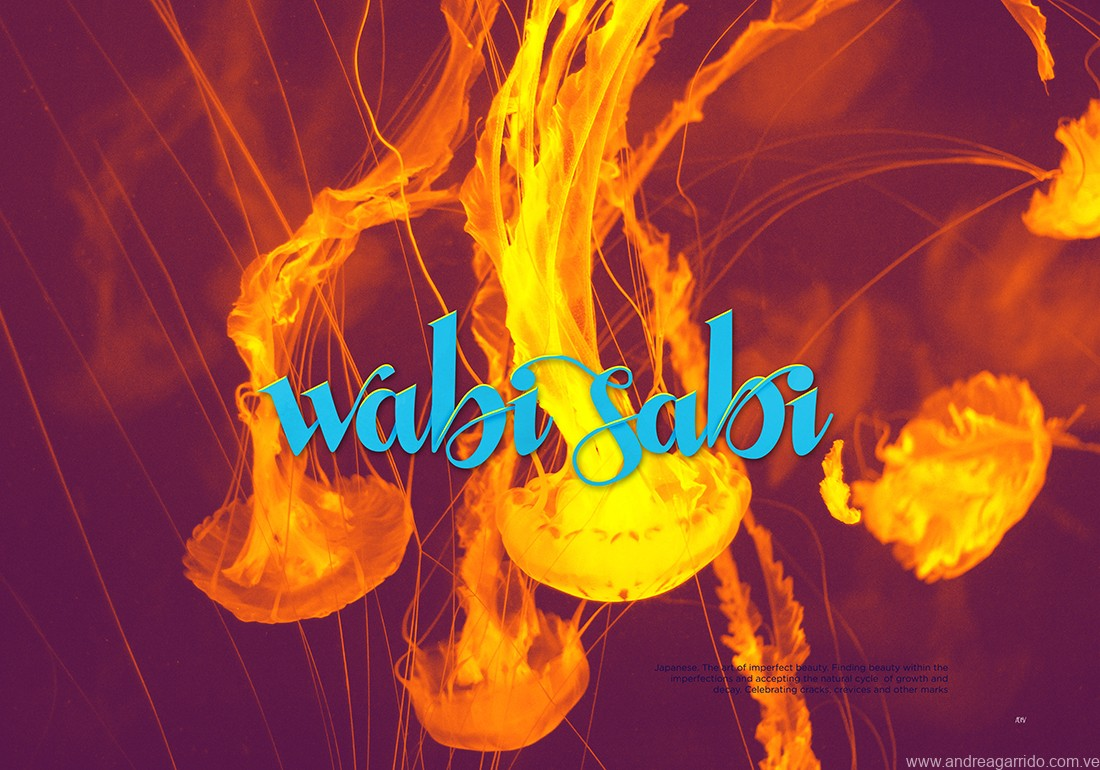 wabi sabi lettering, from the japanese word, the beauty of imperfection. From the beautiful words serie. Jellyfish in the background