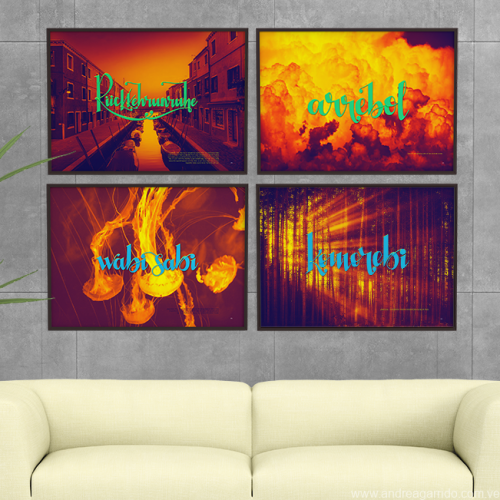 Collage Beautiful words framed 4 sq