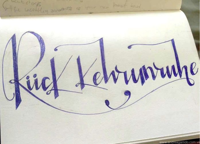 Ruckkehrunruhe lettering. From the german word. The feeling after returning from an inmersive trip