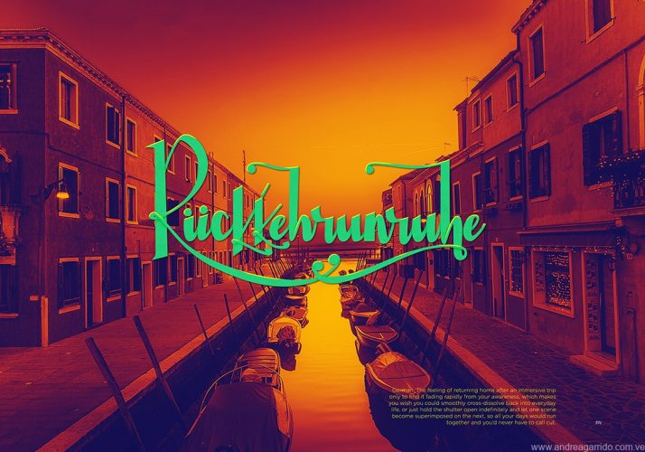 Ruckkehrunruhe lettering. From the german word. The feeling after returning from an inmersive trip. Nostalgia with a Venice, Italy, picture on the background. For the Beautiful words serie.