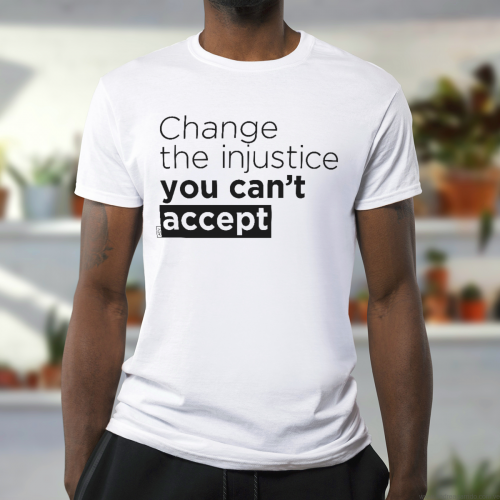 change the injustice you cant accept Andrea Garrido V tshirt man Lettering for peace